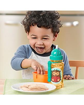 Skip Hop Bottiglia da Viaggio Zoo con Cannuccia per Bambini, Riccio - Tappo Flip-Top! Borracce senza BPA