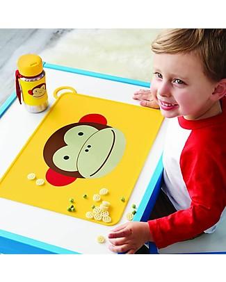 Skip Hop Tovaglietta Fold & Go in Silicone, Scimmietta - 42 x 30,5 cm, Senza BPA, PVC, piombo, latex o ftalati Set Pappa