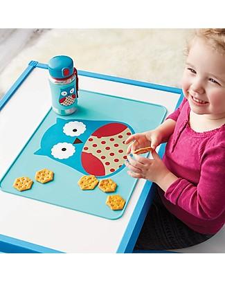 Skip Hop Tovaglietta Fold & Go in Silicone, Gufetto - 42 x 30,5 cm, Senza BPA, PVC, piombo, latex o ftalati Set Pappa