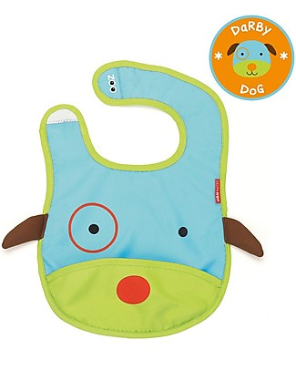 Skip Hop Zoo Tuck-Away Bib with Pocket, Dog - Water-resistant, easy to store when dirty! Waterproof Bibs