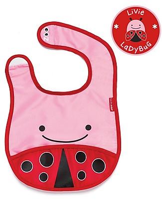 Skip Hop Zoo Tuck-Away Bib with Pocket, Ladybug - Water-resistant, easy to store when dirty! Waterproof Bibs