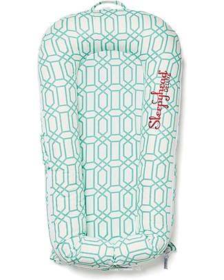 SleepyHead Riduttore Sleepyhead Deluxe+, da 0 a 8 mesi, Mint Trellis -100% cotone Oeko-Tex sfoderabile Materassi