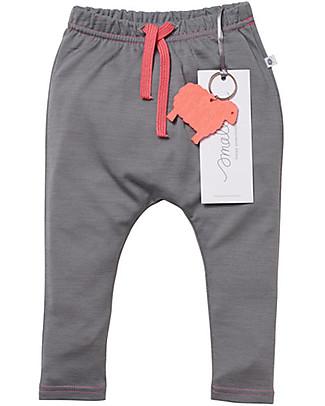 Smalls Aroha, Pantalone Baby 24/7 in 100% Lana Merino, Grigio Pantaloni Lunghi