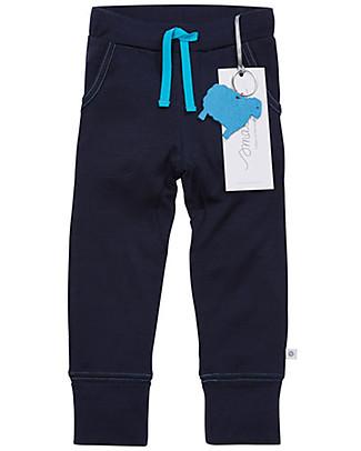 Smalls Pantalone Bambino 24/7 in 100% Lana Merino, Blu Pantaloni Lunghi