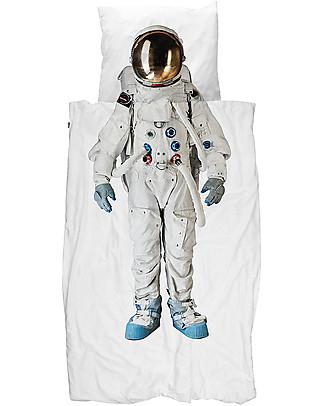 Snurk Set Copripiumino e Federa, Astronauta - Letto Singolo 140 x 200/220 cm - 100% Cotone Copripiumino e Federe