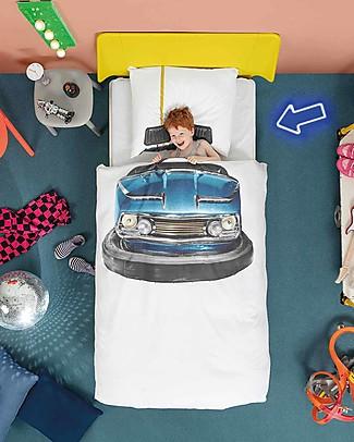 Snurk Set Copripiumino e Federa, Bumper Car - Letto Singolo 140 x 200/220 cm - 100% Cotone Copripiumino e Federe
