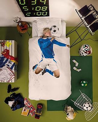 Snurk Set Copripiumino e Federa, Calciatore Azzurro - Letto Singolo 140 x 200/220 cm - 100% Cotone Coperte