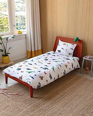 Snurk Set Copripiumino e Federa, Paper Zoo - Letto Singolo 140 x 200/220 cm - 100% Cotone Copripiumino e Federe