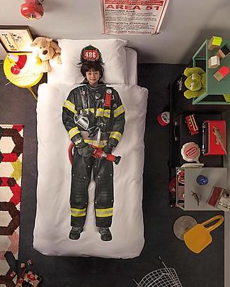 Snurk Set Copripiumino e Federa, Pompiere - Letto Singolo 140 x 200/220 cm - 100% Cotone Coperte
