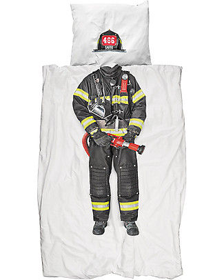 Snurk Set Copripiumino e Federa, Pompiere - Letto Singolo 140 x 200/220 cm - 100% Cotone Copripiumino e Federe
