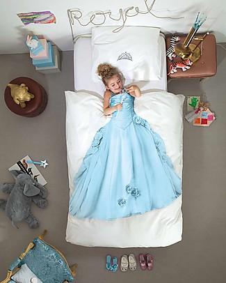 Snurk Set Copripiumino e Federa, Principessa Celeste - Letto Singolo 140 x 200/220 cm - 100% Cotone Copripiumino e Federe