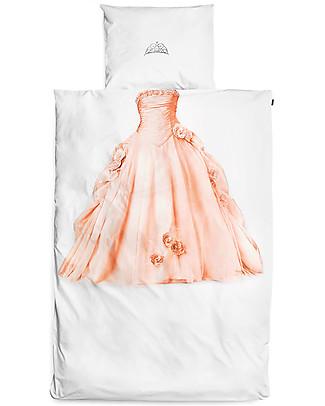 Snurk Set Copripiumino e Federa, Principessa Rosa - Letto Singolo 140 x 200/220 cm - 100% Cotone Copripiumino e Federe