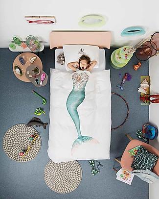 Snurk Set Copripiumino e Federa, Sirena - Letto Singolo 140 x 200/220 cm - 100% Cotone Coperte