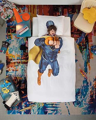 Snurk Set Copripiumino e Federa, Supereroe - Letto Singolo 140 x 200/220 cm - 100% Cotone Copripiumino e Federe
