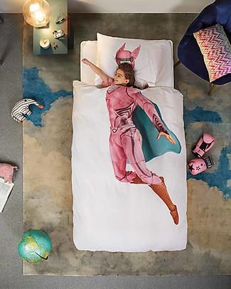 Snurk Set Copripiumino e Federa, Supereroina - Letto Singolo 140 x 200/220 cm - 100% Cotone Copripiumino e Federe