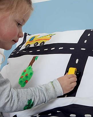 Snurk Set Copripiumino e Federa, Traffico nelle strade - Letto Singolo 140 x 200/220 cm - 100% Cotone Copripiumino e Federe