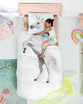 Snurk Set Copripiumino e Federa, Unicorno - Letto Singolo 140 x 200/220 cm - 100% Cotone Copripiumino e Federe