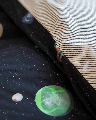 Snurk Set Copripiumino e Federa, Universo e Pianeti - Letto Singolo 140 x 200/220 cm - 100% Cotone Copripiumino e Federe