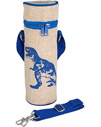 SoYoung Borsa Termica per Bottiglia, Dinosauro Blu – Lino grezzo, lavabile in lavatrice! Borse Pic Nic