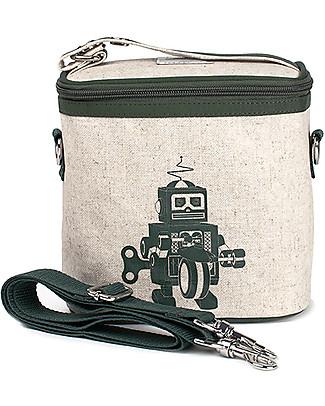 SoYoung Borsa Termica Piccola, Robot Grigio – Lino grezzo, lavabile in lavatrice! Borse Pic Nic