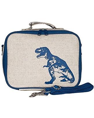 SoYoung Borsa Termica Porta Pranzo, Dinosauro Blu – Lino grezzo, lavabile in lavatrice! Borse Pic Nic
