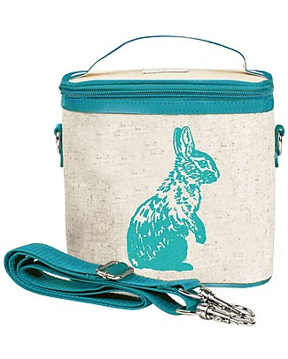 SoYoung Small Raw Linen Cooler Bag, Aqua Bunny – Insulated, machine washable! Lunch Boxes