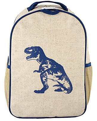 SoYoung Zainetto Asilo 3-6 anni, Dinosauro Blu – Lino grezzo, lavabile in lavatrice! Zainetti