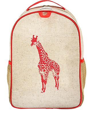 SoYoung Zainetto Asilo 3-6 anni, Giraffa Arancione Fluo – Lino grezzo, lavabile in lavatrice! Zainetti