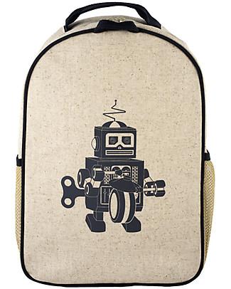 SoYoung Zainetto Asilo 3-6 anni, Robot Grigio – Lino grezzo, lavabile in lavatrice! Zainetti