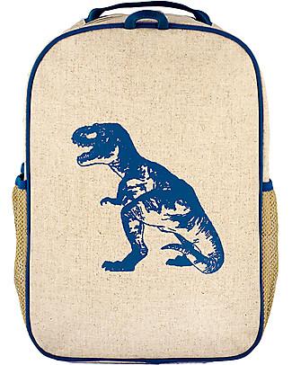 SoYoung Zaino Scuola 6-11 anni, Dinosauro Blu – Lino grezzo, lavabile in lavatrice! Zaini