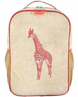 SoYoung Zaino Scuola 6-11 anni, Giraffa Arancione – Lino grezzo, lavabile in lavatrice! Zainetti