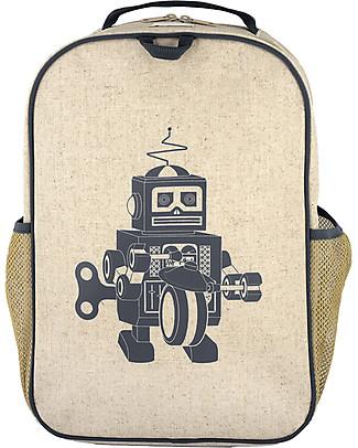 SoYoung Zaino Scuola 6-11 anni, Robot Grigio – Lino grezzo, lavabile in lavatrice! null