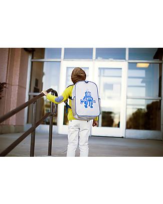 SoYoung Zaino Scuola 6-11 anni, Robot Grigio – Lino grezzo, lavabile in lavatrice! Zaini