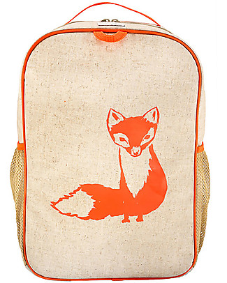 SoYoung Zaino Scuola 6-11 anni, Volpe Arancione – Lino grezzo, lavabile in lavatrice! Zaini
