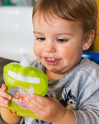 Squiz Eco-Dispenser Pappa Reutilizzabile - Elefante, Leone e Pinguino - Pacco da 3 - 130 ml Sacchetto Cibo