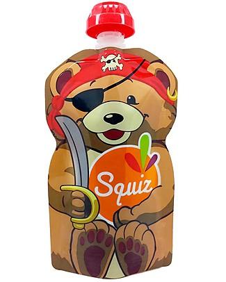 Squiz Eco-Dispenser Pappa Riutilizzabile - Orso Pirata - 130 ml Sacchetto Cibo