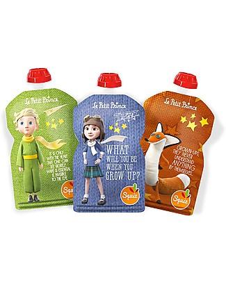 Squiz Eco-Dispenser Pappa Riutilizzabile - Piccolo Principe - Pacco da 3 - 130 ml Sacchetto Cibo