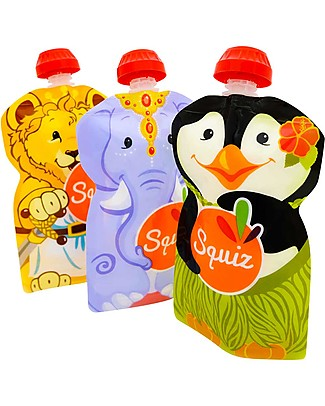 Squiz Porta Pappa Spremi e Vai, Riutilizzabile - Elefante, Leone e Pinguino - Pacco da 3 - 130 ml Sacchetto Cibo