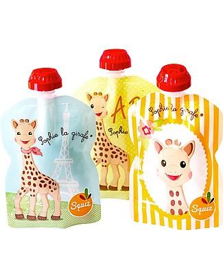 Squiz Porta Pappa Spremi e Vai, Riutilizzabile - Sophie la Girafe - Pacco da 3 - 90 ml Sacchetto Cibo