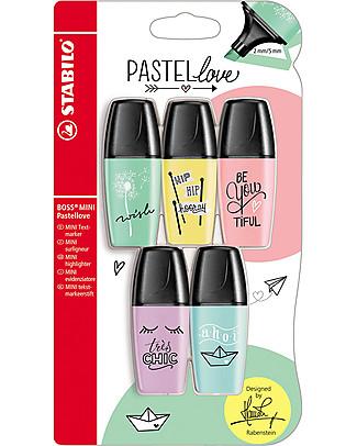 Stabilo Evidenziatori BOSS Mini Pastellove - Confezione da 5, con Fantastiche Illustrazioni! Colorare