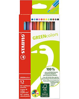 Stabilo Pastelli Colorati Ecologici GREENcolors - Astuccio in cartone riciclato, 12 pastelli  Colorare