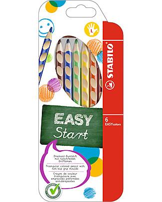 Stabilo Pastelli Colorati Ergonomici EASYcolors per Mancini - Astuccio da 6, colori assortiti Colorare