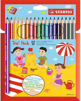 Stabilo Pastelli Colorati Trio Maxi -  Astuccio da 18, colori assortiti con temperino  Colorare