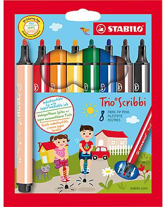 Stabilo Pennarelli Ergonomici Trio Scribbie, astuccio da 8 - colori assortiti Colorare