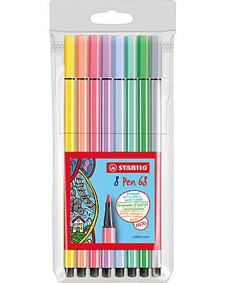 Stabilo Pennarelli Pen 68 Pastello - Confezione da 8 colori pastello assortiti Colorare