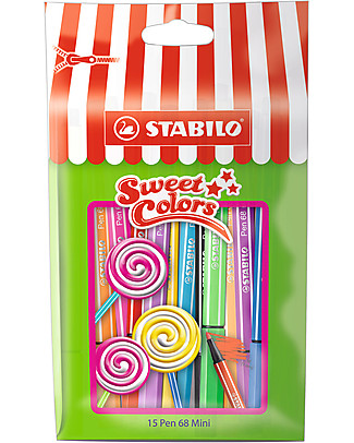 Stabilo Sweet Colors Pennarelli Pen 68 mini - confezione da 15, colori assortiti Colorare