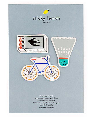 Sticky Lemon Set da 3 Mini Toppe Adesive Decorative, Bici/Fiammiferi/Badmington Regalini