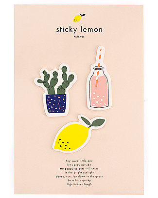Sticky Lemon Set da 3 Mini Toppe Adesive Decorative, Limone/Bottiglia/Cactus null