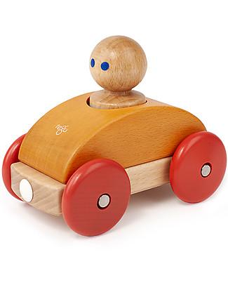 Tegu Macchina da Corsa Magnetica in Legno, Arancione - Sicura e Divertente! Macchine e Trenini  in Legno