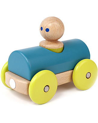 Tegu Macchina da Corsa Magnetica in Legno, Celeste - Sicura e Divertente! Macchine e Trenini  in Legno